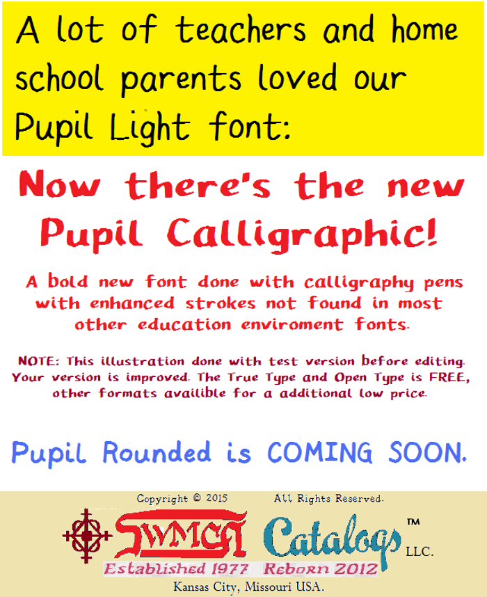Pupil Caligraphic Font poster