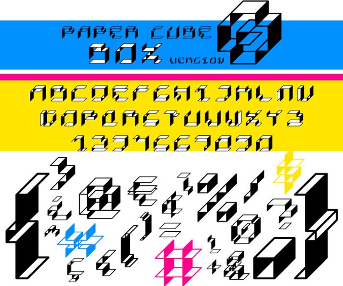 Paper Cube Font poster