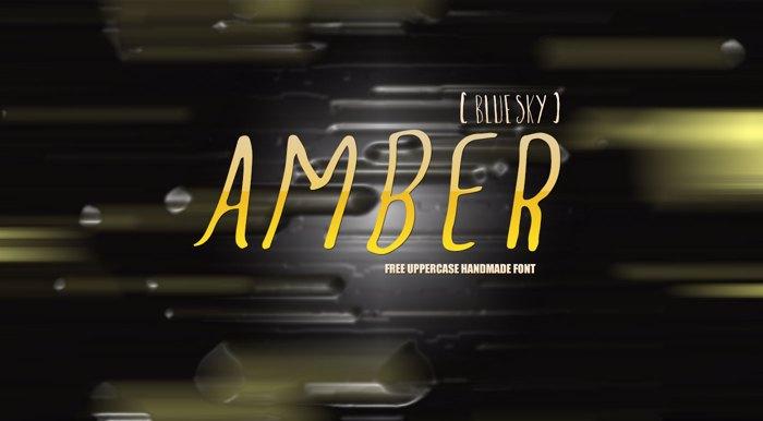 Amber  Blue Sky Font poster