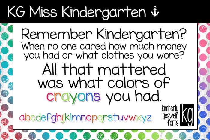KG Miss Kindergarten Font poster