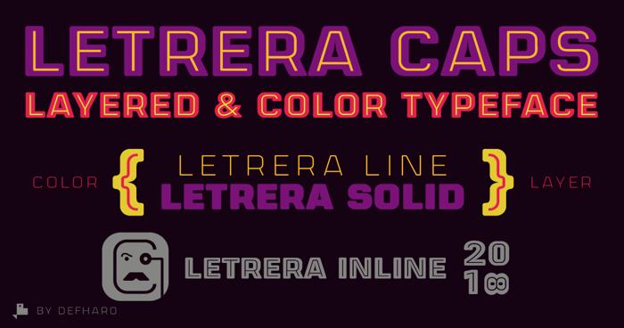 Letrera Caps Inline Font poster