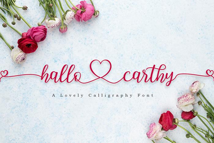 Hallo Carthy Font poster