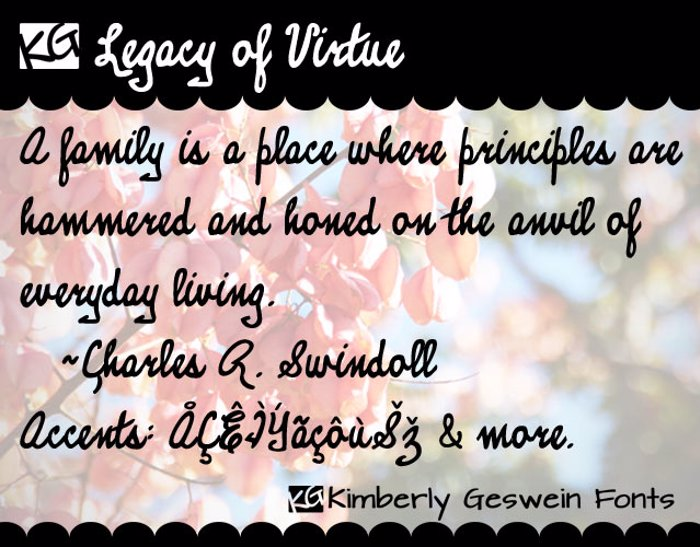 KG Legacy of Virtue Font poster
