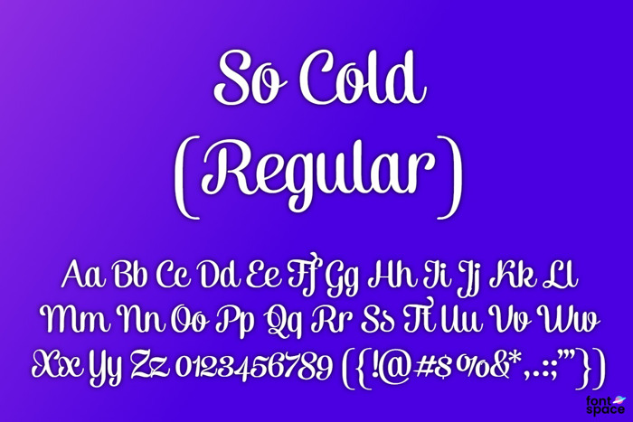 So Cold Font poster