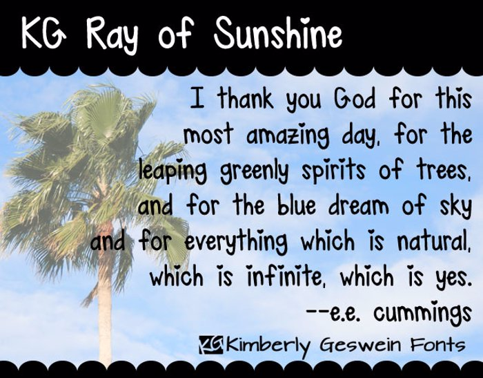 KG Ray of Sunshine Font poster