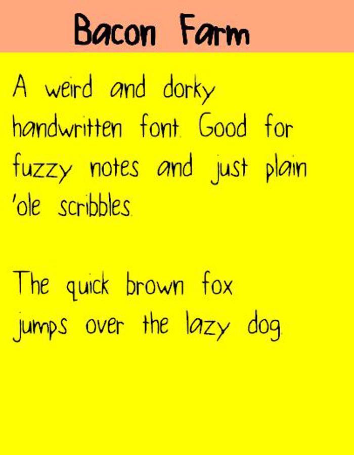 BaconFarm Font poster