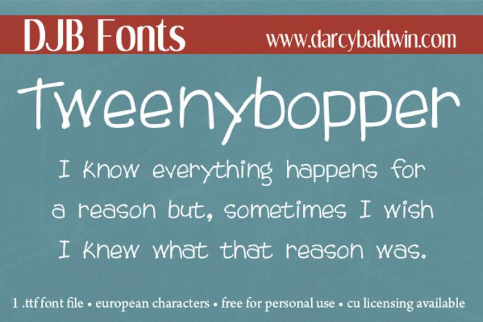 DJB Tweenybopper Font poster