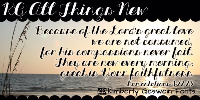 KG All Things New Font poster