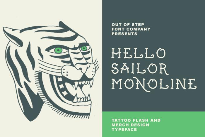 Hello Sailor Monoline Font poster