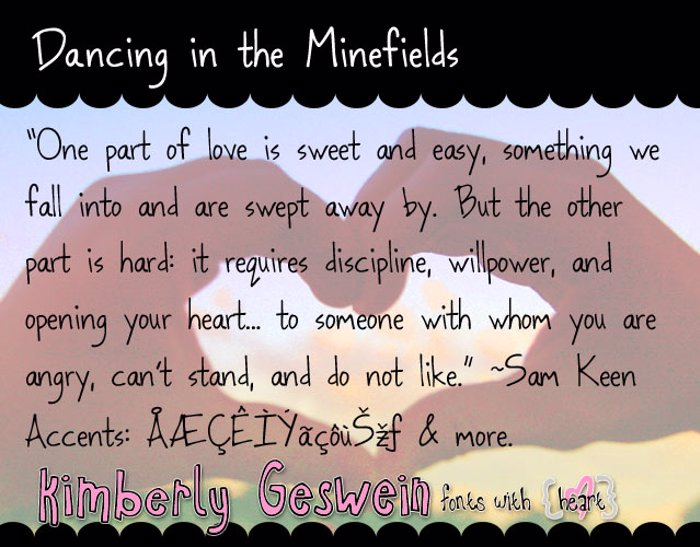 Dancing in the Minefields Font poster