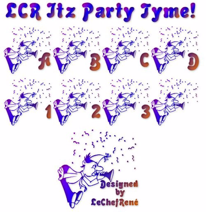LCR Itz Party Tyme! Font poster