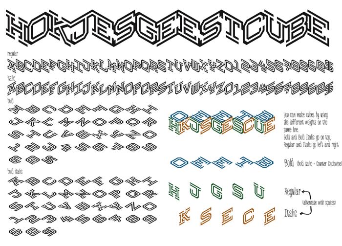 Hokjesgeestcube Font poster
