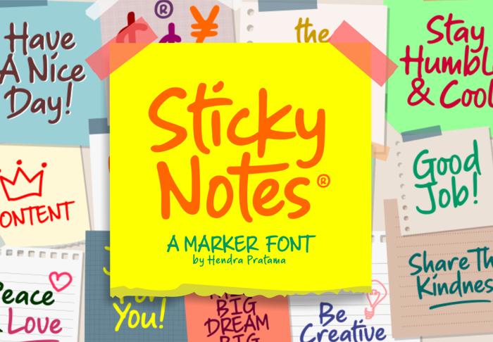 Sticky Notes Font poster