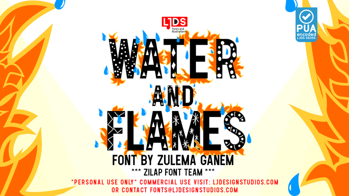Water and Flames Font poster
