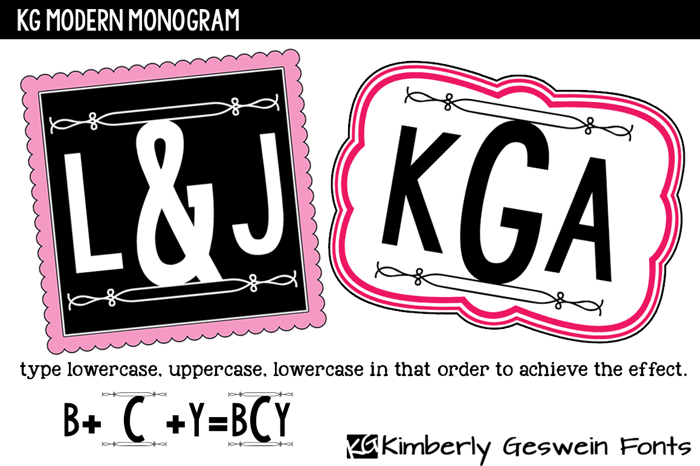 KG Modern Monogram Font poster