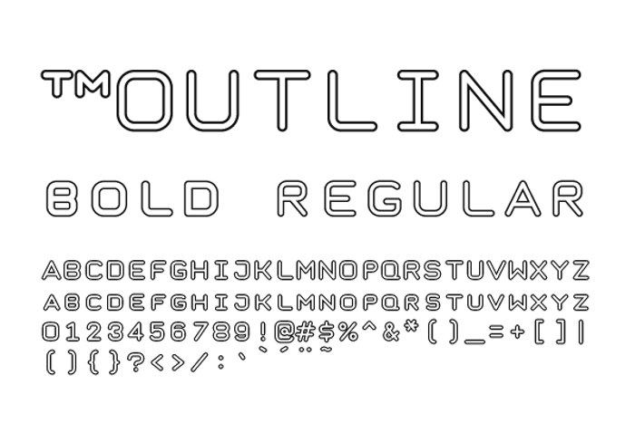 Taurus Mono Outline Font poster