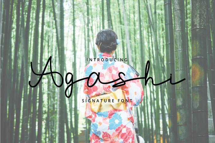 Agashi Signature Font poster