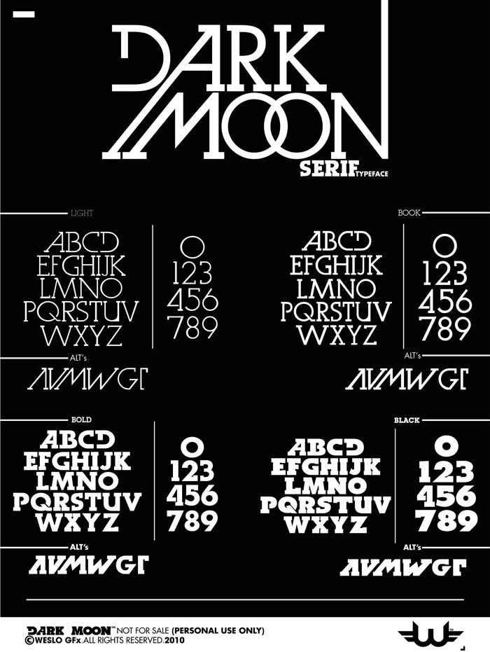 Dark Moon Serif Font poster