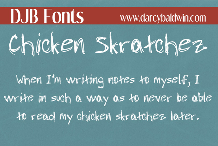 DJB Chicken Skratchez Font poster