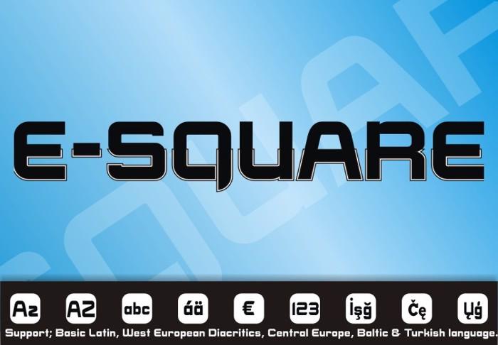 E-SQUARE Font poster