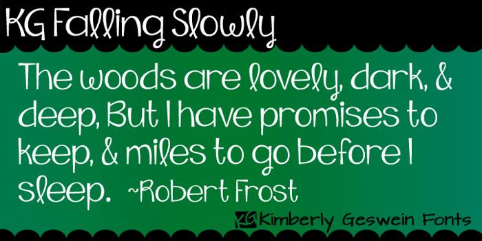 KG Falling Slowly Font poster