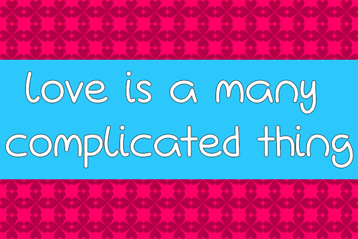 Love Is A Many Complicated Thin Font poster