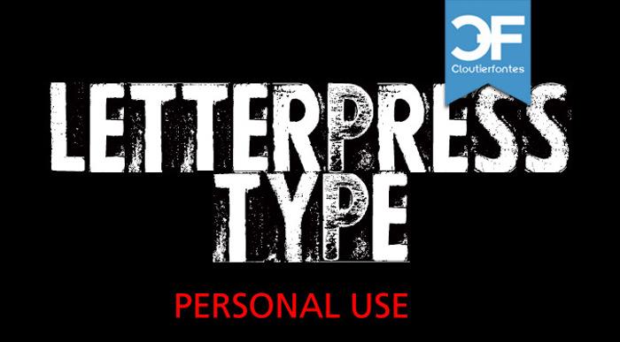CF Letterpress Type Font poster