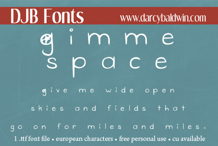 DJB Gimme Space Font poster