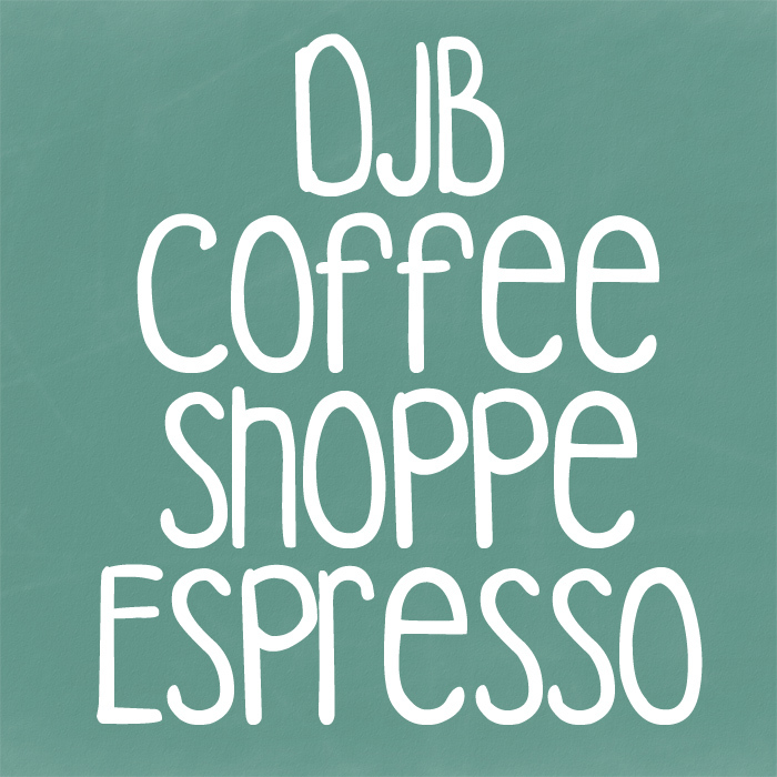 DJB COFFEE SHOPPE ESPRESSO Font poster