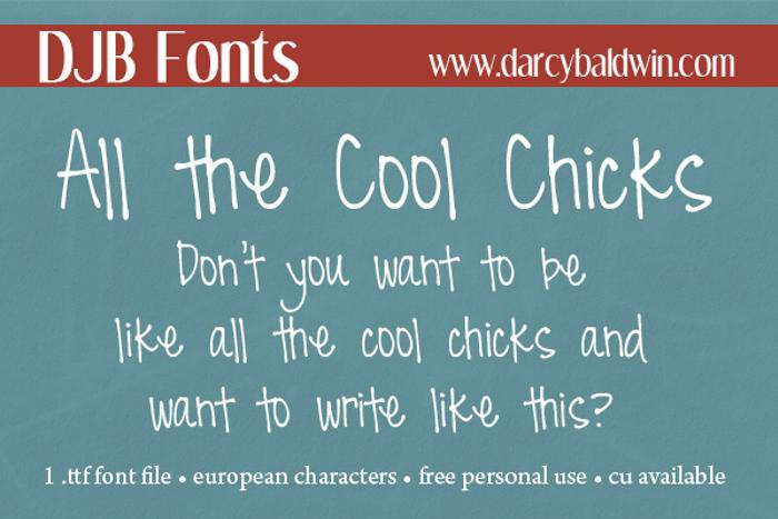 DJB All Cool Chicks Font poster