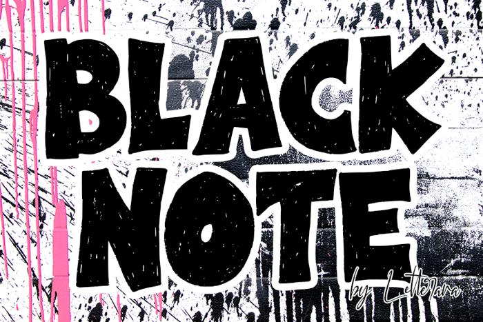 Black Note Font poster