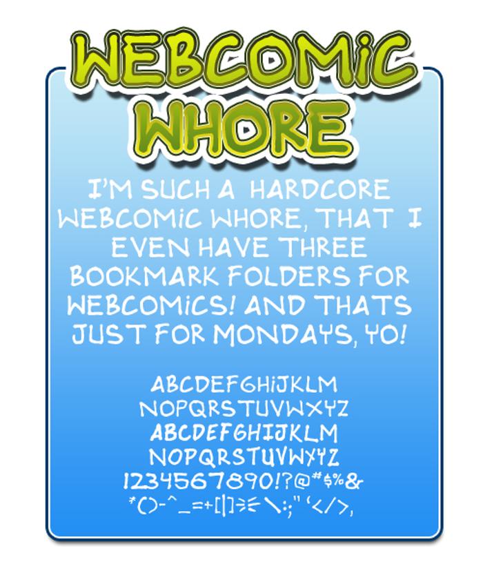 Webcomic whore Font poster