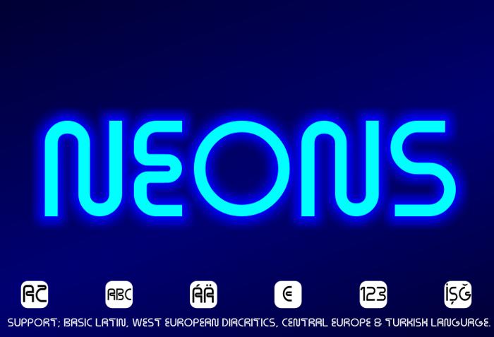 Neons Font poster