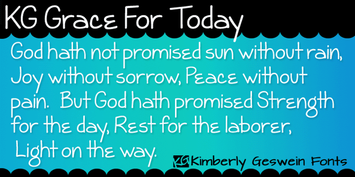 KG Grace For Today Font poster