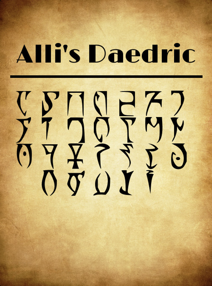 Alli's Daedric Font poster