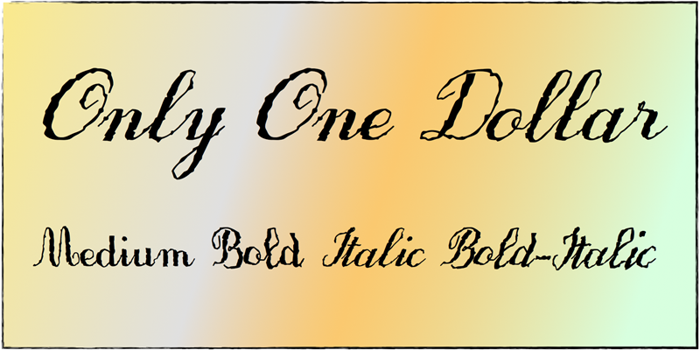 Only One Dollar Font poster