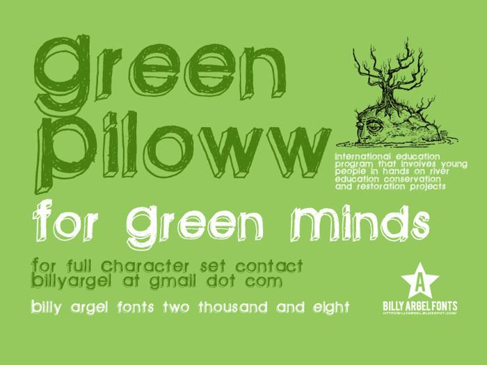green piloww Font poster