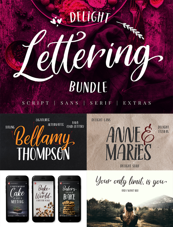 Delight Lettering Script Font poster