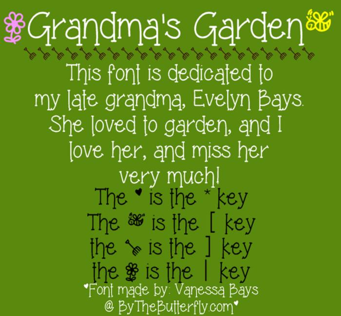 Grandma's Garden Font poster