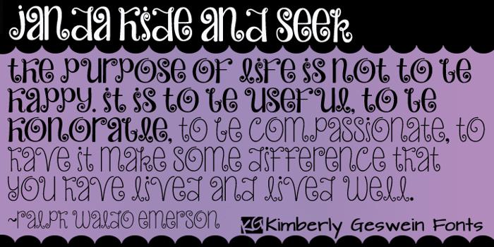 Janda Hide And Seek Font poster