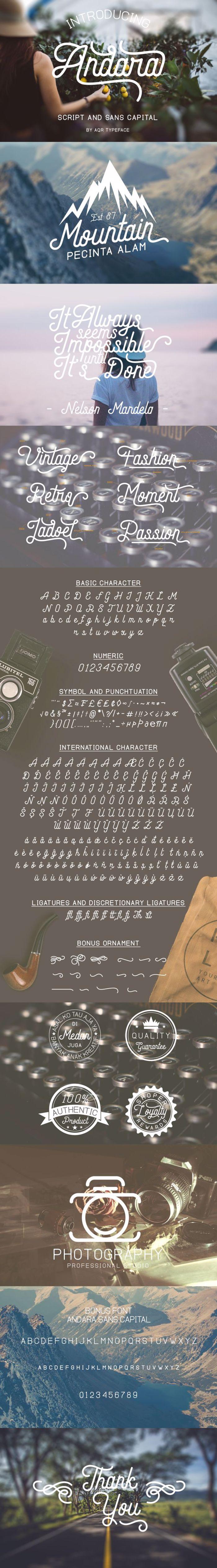 Andara Script Font poster