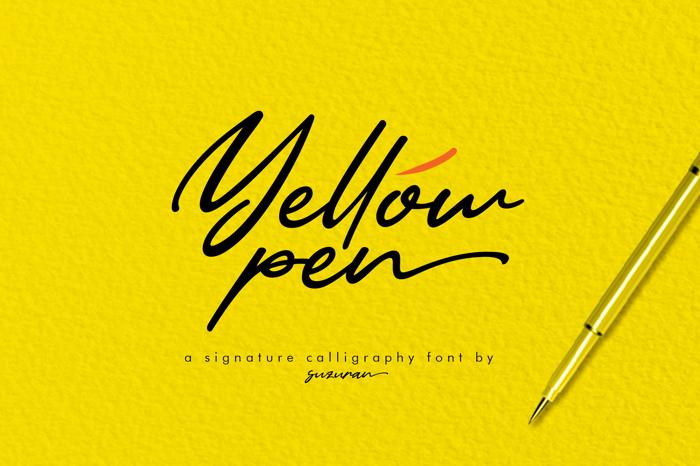 Yellow Pen Font poster