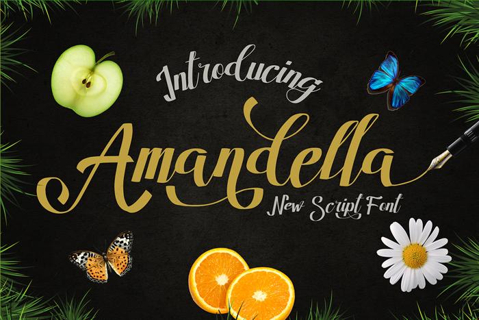 Amandella Script Font poster
