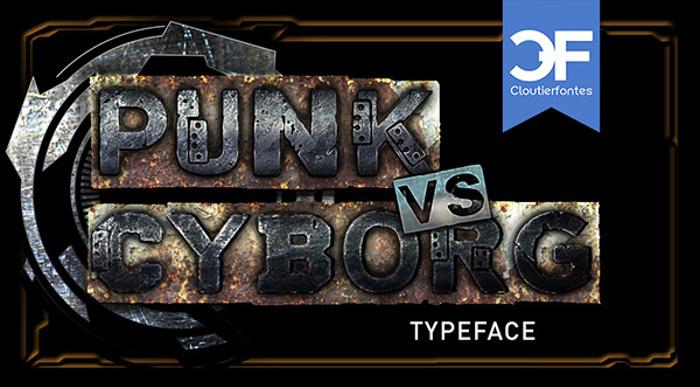 CF Punk vs Cyborg Font poster