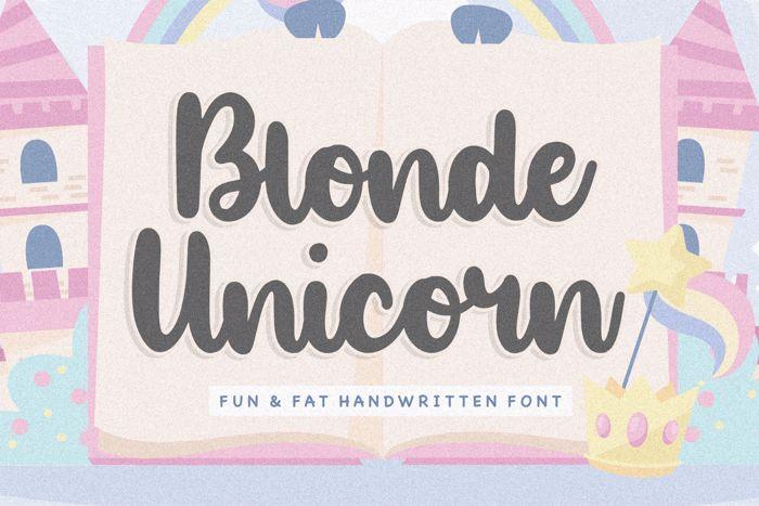 Blonde Unicorn Font poster