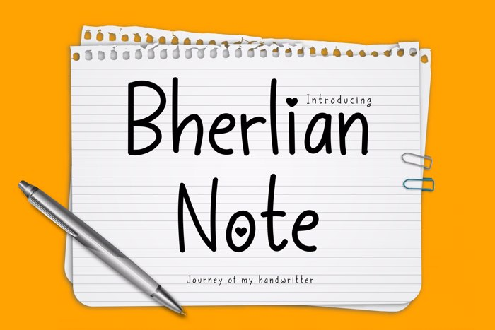 Bherlian Note Font poster