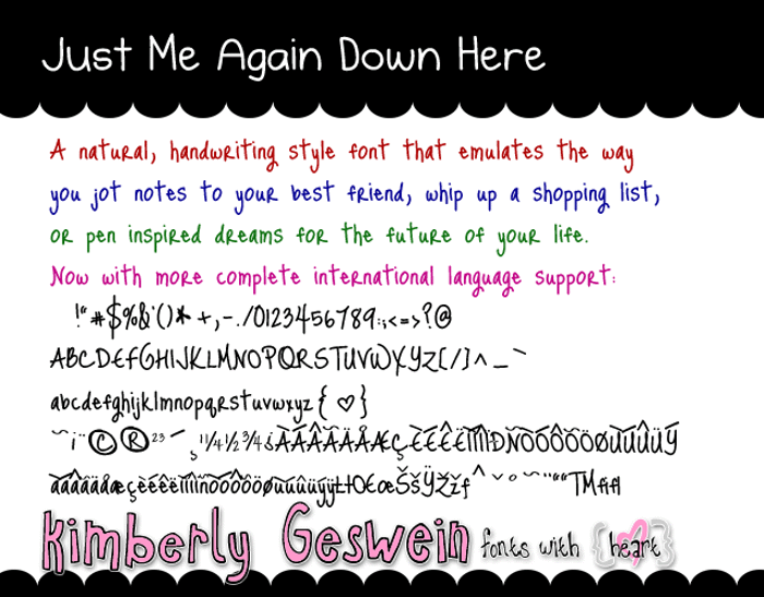 Just Me Again Down Here Font poster