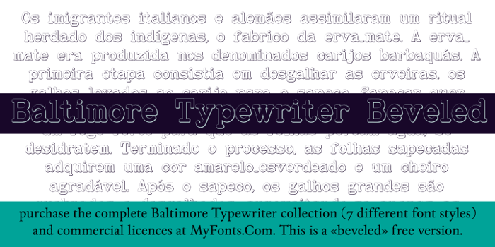 Baltimore Typewriter Bold Beveled Font poster