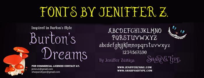 Burton's Dreams Pro Font poster
