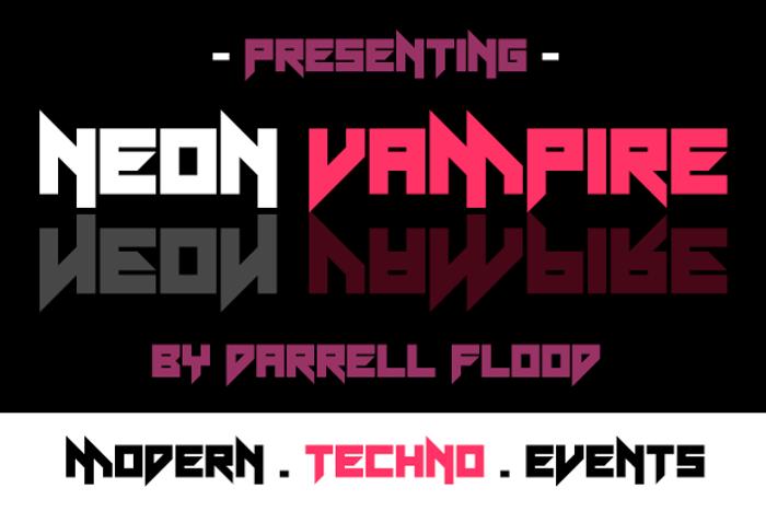 Neon Vampire Font poster